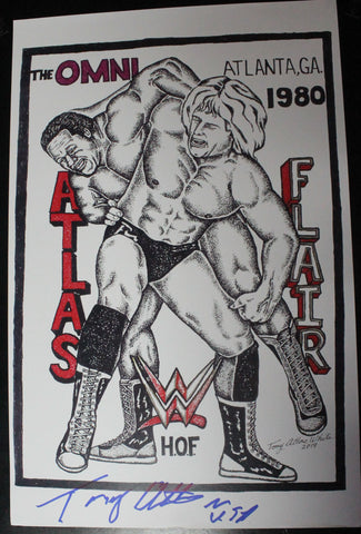 11x17 Copy Original Tony Atlas Art Signed By Atlas (Ric Flair/Atlas)