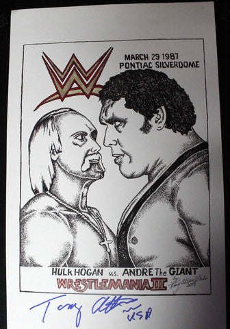 11x17 Copy Original Tony Atlas Art Signed By Atlas (Hogan Andre)