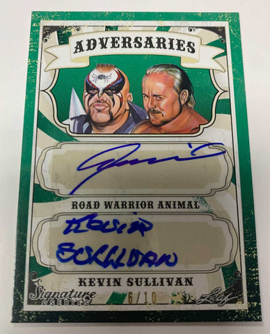 Road Warrior Animal & Kevin Sullivan Signed 2016 Leaf Signature Green Emerald #/10