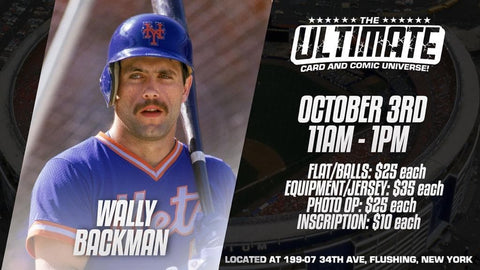 In-Store Meet & Greet 1986 NY Mets World Series Champion Wally Backman Oct 3rd 11AM-1PM (FLATS*BALLS $25/EQUIP*JERSEYS $35/PHOTO OP $25/INSCRIPTION $10)