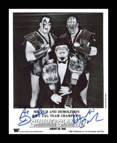 Demolition Ax & Smash Pose 3 Dual Signed Photo COA
