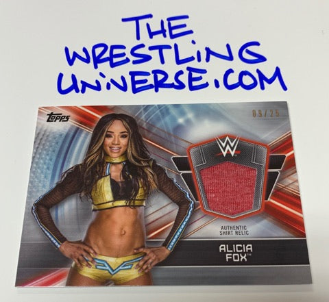 Alicia Fox WWE 2019 Topps Summer Slam Shirt Relic Card #9/25