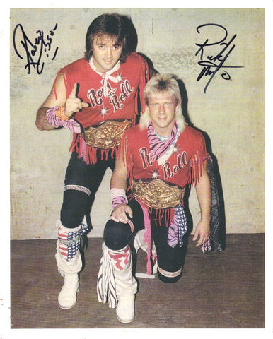 Rock N Roll Express Robert Gibson & Ricky Morton Pose 2 Dual Signed Photo COA
