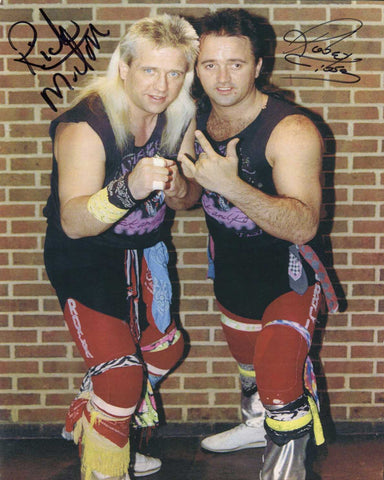 Rock N Roll Express Robert Gibson & Ricky Morton Pose 1 Dual Signed Photo COA