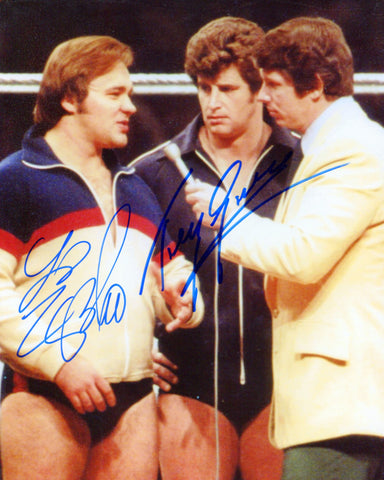 Tony Garea & Larry Zbyszko Pose 3 Dual Signed Photo COA