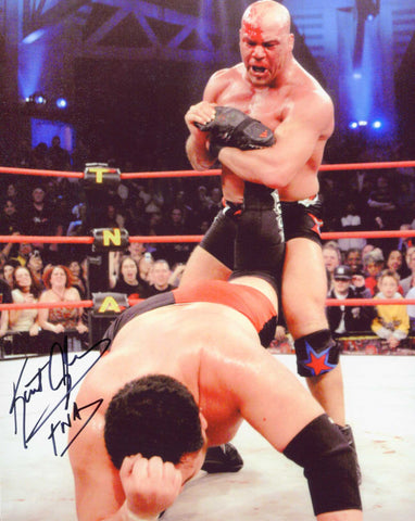 Kurt Angle Pose 1 Signed Photo (Black Ink) COA