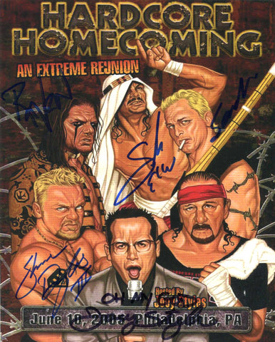 ECW Hardcore Homecoming Sabu, Raven, J Styles, Douglas, Sandman Multi Signed Photo