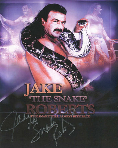 Jake The Snake Roberts Pose 5 Signed Photo COA