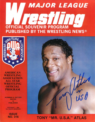 AWA Major League Wrestling Official Program #316 1984 Signed by Tony Atlas