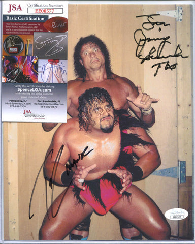 Jimmy Snuka & Taz Tazz Dual Signed Photo JSA COA