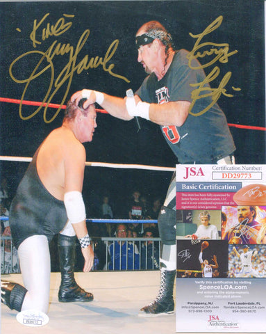 Terry Funk & Jerry Lawler Dual Signed Photo JSA COA
