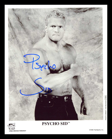 Psycho Sid (Sid Justice) Pose 4 Signed Photo (Blue Ink) COA