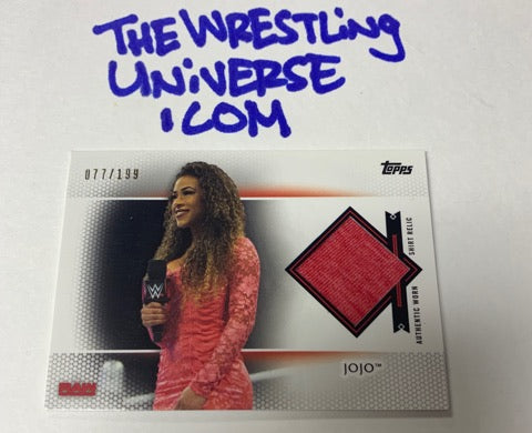 JoJo Topps 2017 RAW Event Worn Shirt Relic #/199