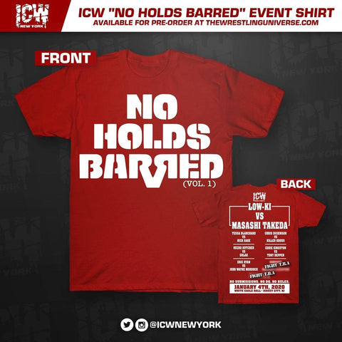 "ICW ""No Holds Barred"" Event T-Shirt (Red)"