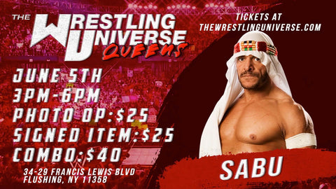 In-Store Meet & Greet with Sabu Sat June 5th from 3-6PM TIX NOT MAILED (CHOOSE COMBO $40/SIGNED ITEM $25/PHOTO OP $25)