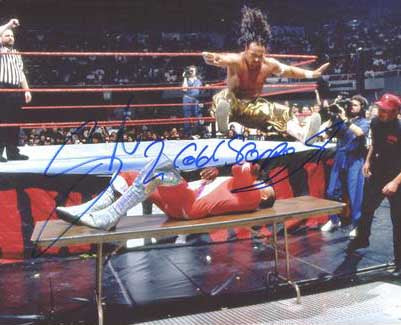Sabu & 2 Cold Scorpio Pose 1 Dual Signed Photo COA
