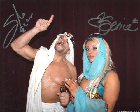 Sabu & Super Genie Dual Signed Pose 1 Photo COA