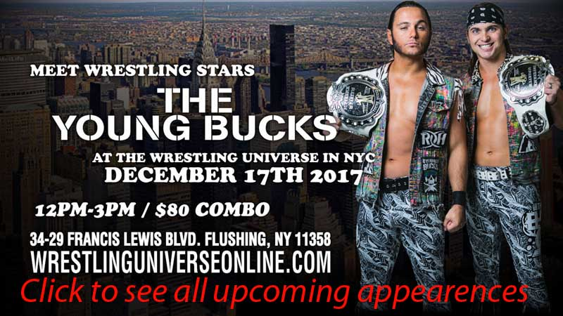 Meet ROH Superstars The Young Bucks on December 17th. from 12-3pm COMBO TICKET
