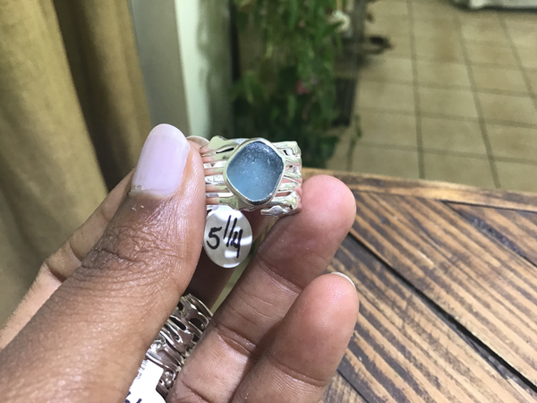 Free form sea glass ring 5 1/4