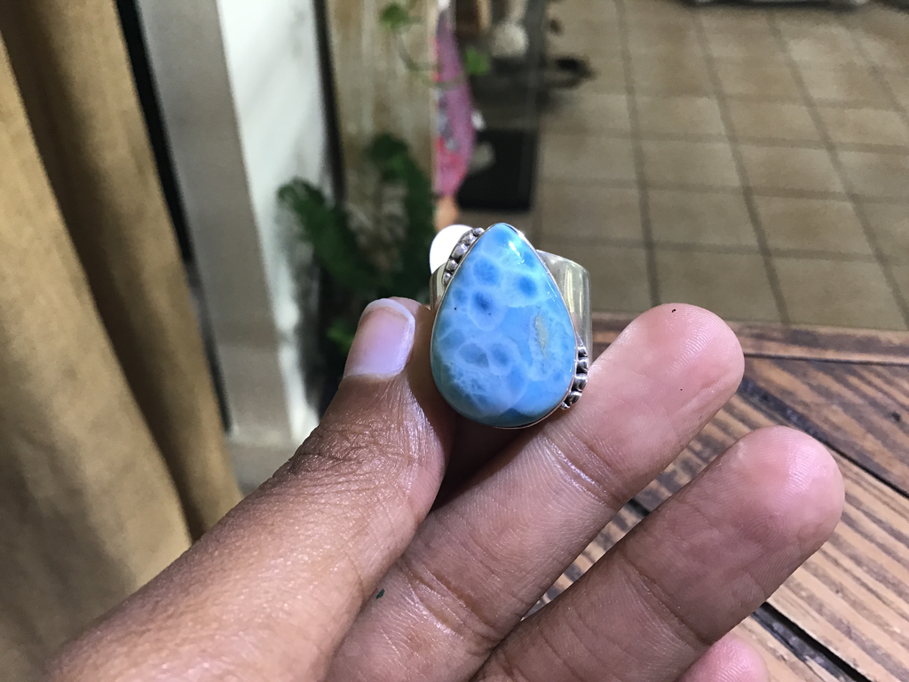 Wide band larimar ring 7.5