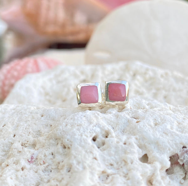 Square Pink Conch Shell Studs