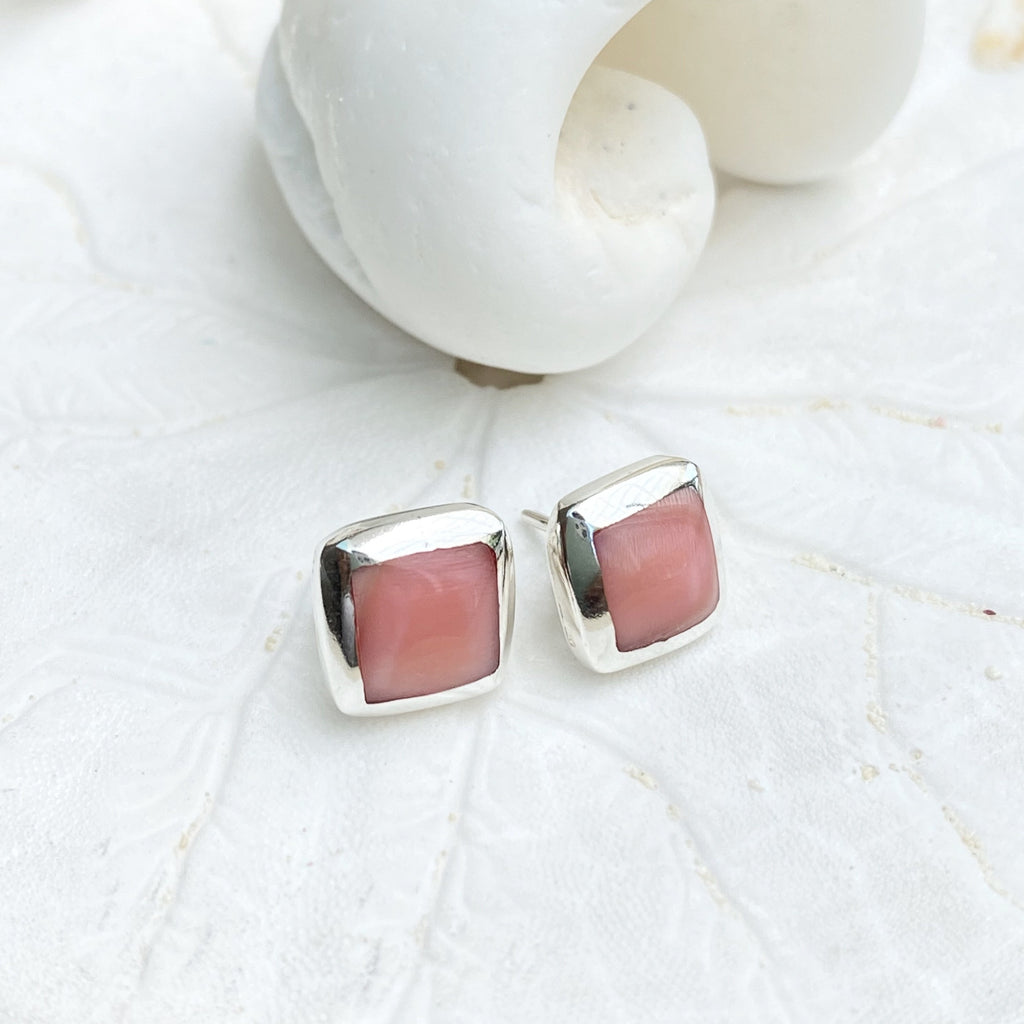Small Pink Conch Shell Studs