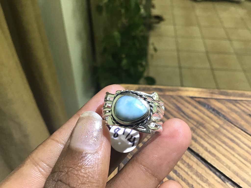 Free form larimar ring 8 1/4