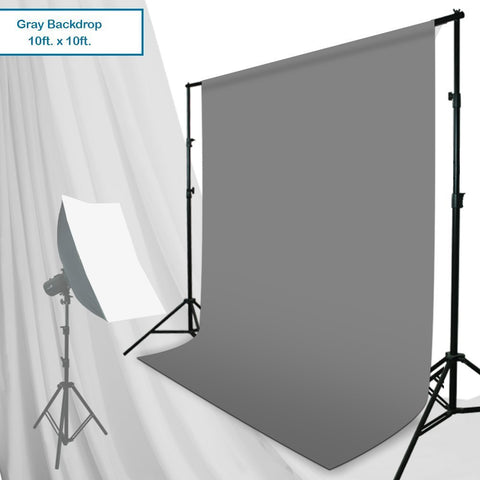 Julius Studio 10 ft. x 10 ft. Gray Chromakey Photo Video Studio Fabric Backdrop, Background Screen, JSAG192V2