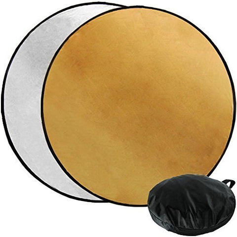 "Julius Studio 43"" Photography Photo Video Studio Lighting Disc Oval Reflector, 2-in-1, 2 Colors, Gold, Silver, JGG2423"