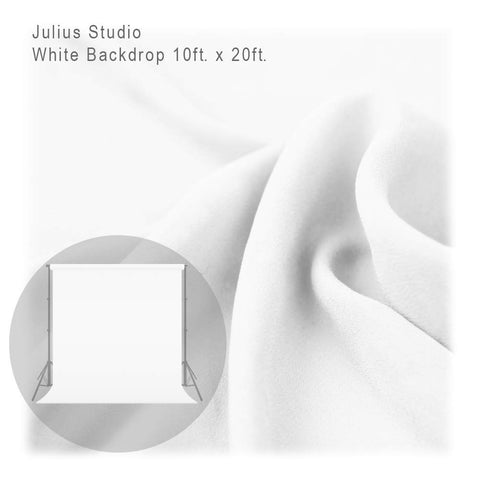 Julius Studio 10 ft X 20 ft White Chromakey Photo Video Studio Fabric Backdrop, Background Screen, Pure White Muslin, Photography Studio, JSAG198