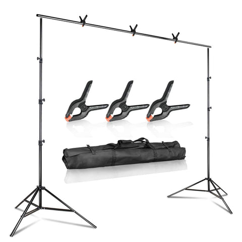 Julius Studio 10 ft. Wide Adjustable Background Muslin Support Structure System Stand and Cross Bar for Screen Backdrop with 3 Pack of Support Clamp, Stable Thick Pole, Photography Studio, JSAG242V2