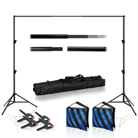 10 Feet Wide Backdrop Support Stand Cross Bar Kit with Spring Clamp and Counter Weight Sand Bag for Stablizing Structure, Photo Video Studio Setting