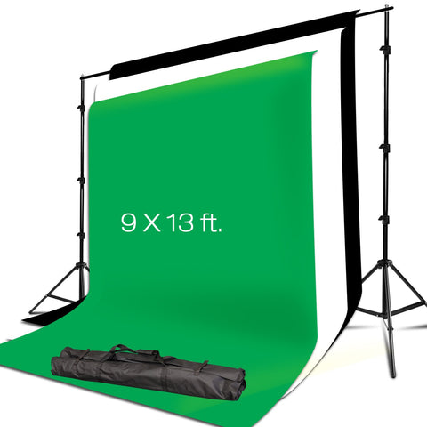 Julius Studio 7.4 x 10 ft. Background Muslin Backdrop Support System with 9 x 13 ft. Black, White, Green Muslin Backdrop for Photo Video Studio, JSAG311