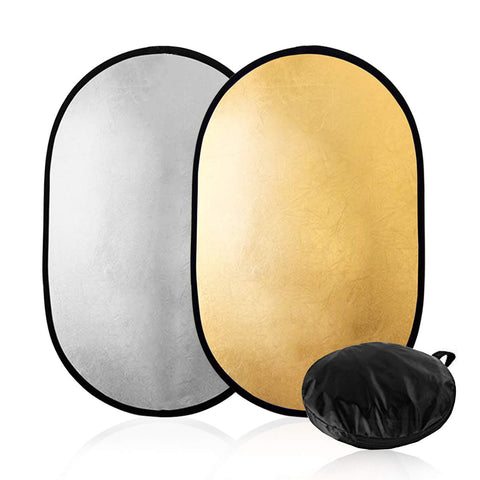 "Julius Studio 24"" x 36"" (60cm x 90cm) Photography Photo Video Studio Lighting Panel Oval Reflector, 2-in-1, 2 Colors, Gold, Silver, JGG2422"