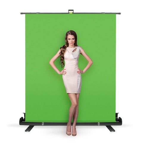 Julius Studio Collapsible and Retractable Green Chromakey Screen with Built-in Aluminum Case, Premium Backdrop Screen, Green Photo Background, Fast and Easy Setup, JSAG445