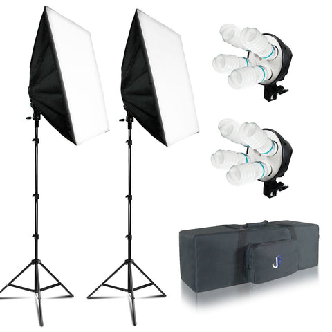 "Julius Studio 24""X16"" Soft Box Photography Continuous 800W Lighting Kit Photo Studio Equipment with 4 Socket Light Bulb Adaptor, 8pcs E27 Video Lighting Bulb, Portraits Shooting Box JSAG314V2"