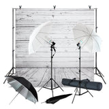 Wood Floor Backdrop Muslin with Umbrella Lighting Kit, Background Support Stand, Bulb, Socket, Spring Clamp, White & Black Umbrella Reflector