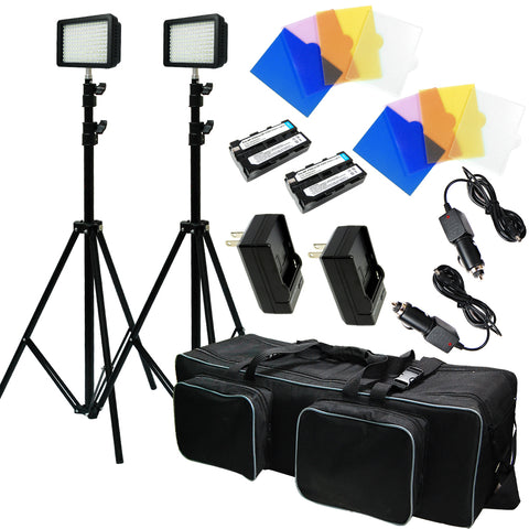 2 Sets of 216 LED light Kit, Dimmable Power Panel with Color Filter Camera, for