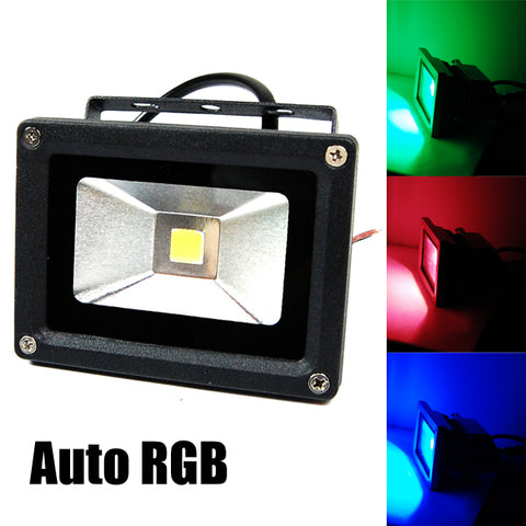 12V 10W Outdoor LED Flood Light RGB Auto Color Changing 2PCS
