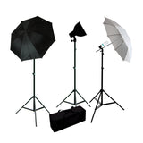 "Photo Studio Premium 3 Light Fluorescent Outfit w/ Stands, Umbrellas, Bulbs, 6"" Reflector & Deluxe Case, 900W Output"