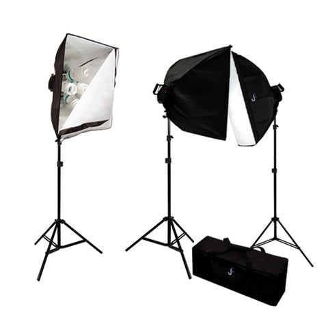4500 Watt Photo Studio Lighting Softbox Video Light Kit & Carry Case