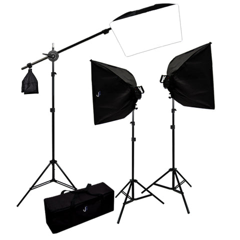 4500 Watt Photo Studio Lighting Softbox Video Light Kit Boom Set & Carry Case