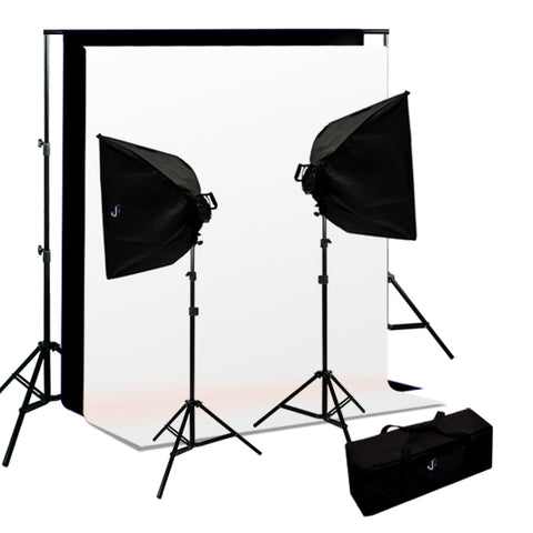 Softbox Video Light Kit, Background Support, Black & White Backgrounds