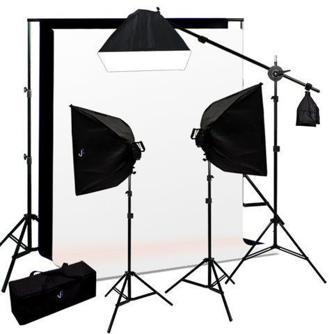 Softbox Video Boom Light Kit, Background Support, Black, White Backgrounds