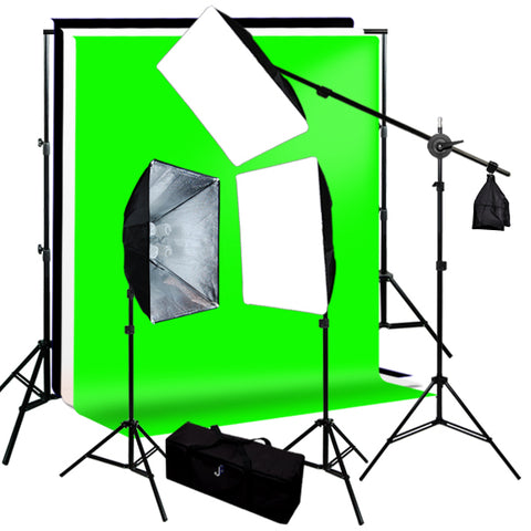 Continuous Lighting Boom Kit, Background Support, Black White Green 3 Muslin Backdrops
