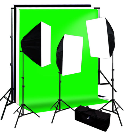 Continuous Lighting Kit, Background Support, Black White Green 3 Muslin Backdrops