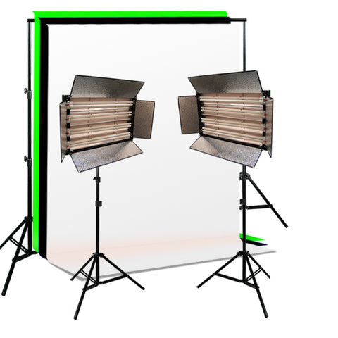 Fluorescent 4-bank Light Kits, Background Support, Muslin Backdrops