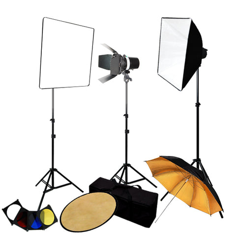 Photography 3-Monolight Strobe Softbox Flash Lighting Kits w/ Barndoor, Reflector & Case