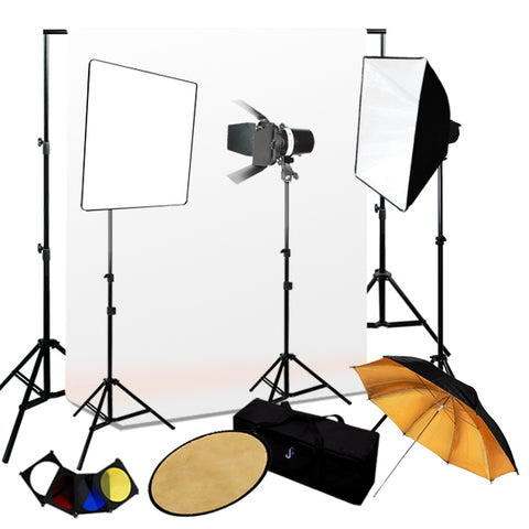 Pro 3 Strobe Softbox Flash MonoLight Lighting kits, Background Support & Muslin Background