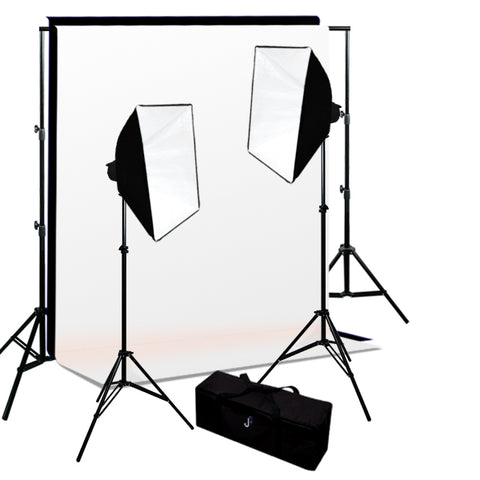 600W 2-MonoLight Strobe Softbox Flash Lighting kits, Background Support & Backgrounds